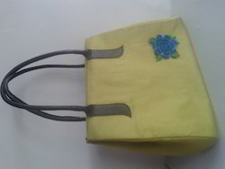 Fabric Bag with Leather Handle