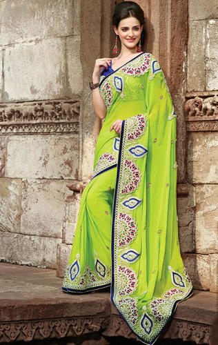 ea6114d08f8ad5 Parrot Green Color Faux Georgette Saree with Blouse - Saree Swarg ...