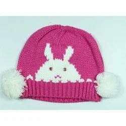 Pink Kids Woolen Skull Cap