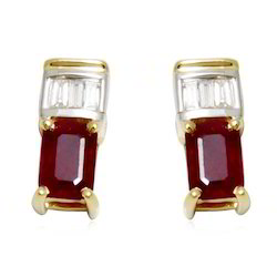 Ruby Diamonds Gold Stud Earring
