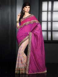 Pink Art Silk With Super Net Partywear Saree