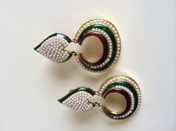 Meenakari Moti Earrings
