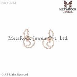 Pave Setting Diamond Stud Earring Jewelry