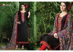 Embroidered Black Cotton Printed Suits