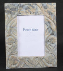 Natural Soapstone Photo Frame with Leaf Etching for 4x6 Picture