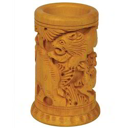 Mahesh Handicraft Brown Wooden Carved Pen Stands, For Office