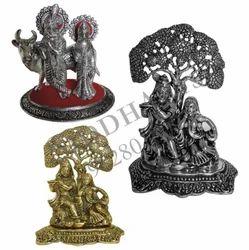 Silver & Gold Col Oxidized White Metal Radha Krishna Statues
