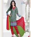 Enticing Green And Violet Crepe Churidar Suit