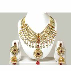 22K Gold Plated Kundan Necklace with Earrings