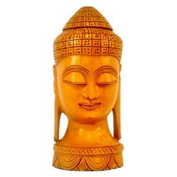 Golden Brown Handmade Wooden Head Buddha Idols