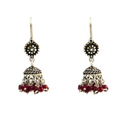 Red Stone Oxodise Hook Jhumki