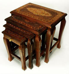 Wooden Four Stools Set