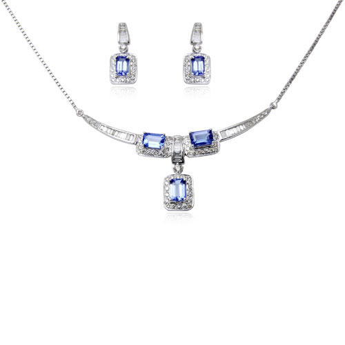 White gold tanzanite necklace at rs 85499 piece tanzanite white gold tanzanite necklace mozeypictures Choice Image