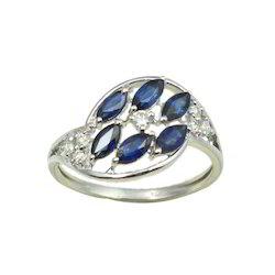 Blue Sapphire Designer White Gold Ring