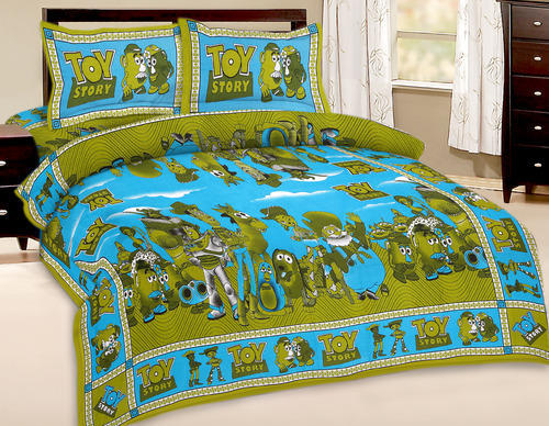 Toy Story Cartoon Print Combo 1 2 Kids Double Bed Sheet