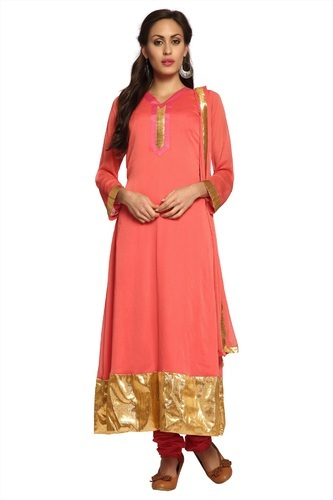 52a3fb141e7 Peach Chiffon Semistitched Salwar Suit - Neha Sarees, Surat | ID ...