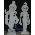 White Marble Radha Krishna Statue With Base