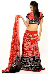 Maroon and Black Bandhej Lehenga Choli