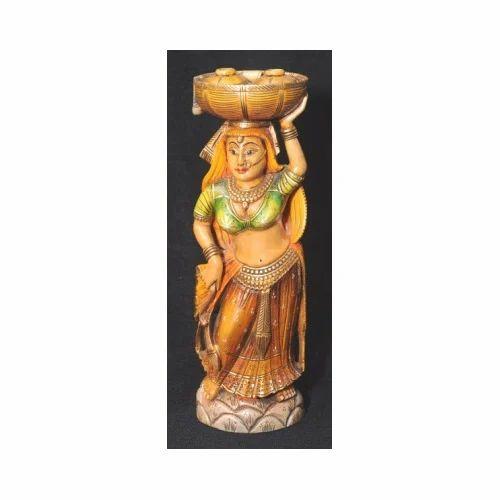Wooden Lady Statue Wooden Handicrafts Kanta Jaipur Kuber Art N