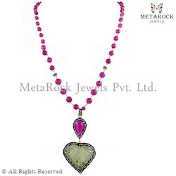 Pink Tourmaline Beads Gemstone Chain Necklace