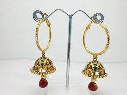 Red Festival Antique Jhumka
