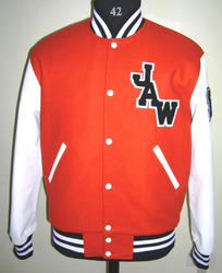 Burnt Orange Wool Body with  White Leather Sleeves Varsity Jacket