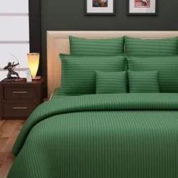 High Quality Dyeing Linen Self Stripe Bed Set Dark Green Comforters