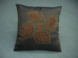 Leaves Hand Work Cushion Cover