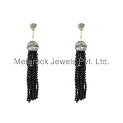 Black Spinel Diamond Tassel Earrings Jewelry