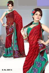 Printed Embroidery Saree