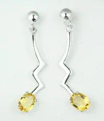 Silver Gemstone Long Earring