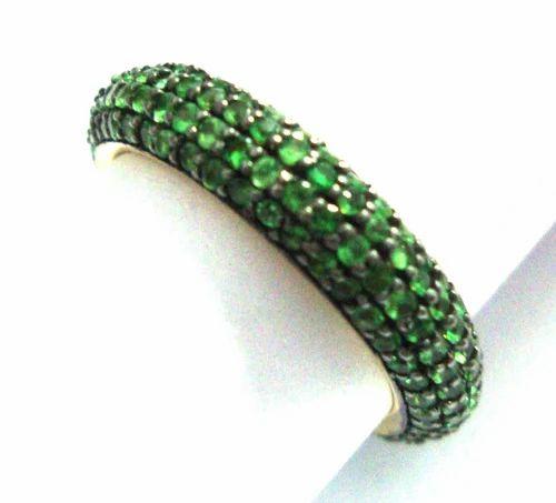 The Mask Jewellery Green Tsavorite Band Pave Ring, Size: Us 6