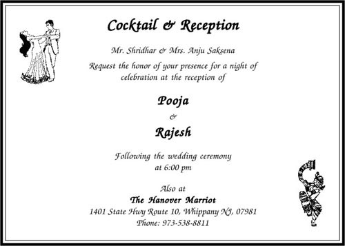 Cocktail Ceremony Cards Greeting Invitation Cards