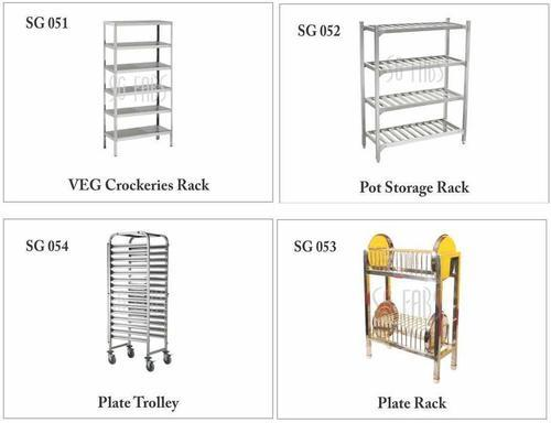 SG Fabs Stainless Steel Vetable Storage Rack, For Restaurant