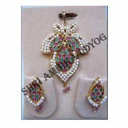 Pearl Precious Stone Pendant Set