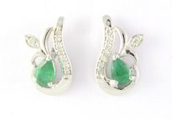 925 Emerald Gemstone Sterling Silver Earring