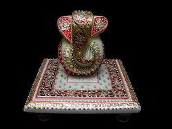 Marble Decorative Chowki Ganesh