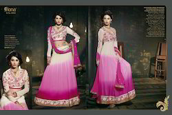 pink embroidered anarkali suits