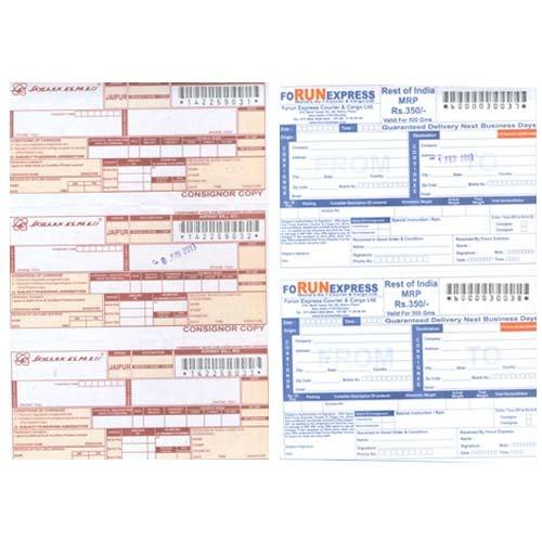 courier receipts with bar coding numbering vandana graphics pvt