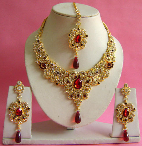 Gold Plated New Design Wedding Bridal Necklace Set Np-177