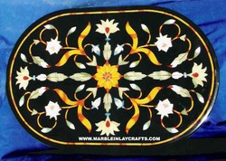 Inlay Marble Oval Shape Table Top