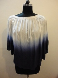 White Blue Dyed Cotton Halter Top