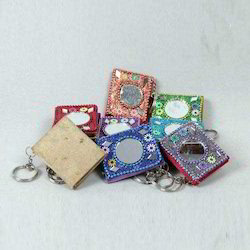 Handmade Lac Diaries with Mirror With Key Chains, For Household