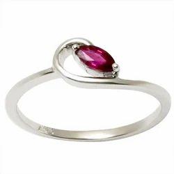 Sleek White Gold Ruby Ring