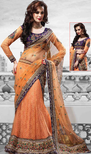 5c011a5d36 Designer Lehenga - Light Orange Net Lehenga Choli with Dupatta ...