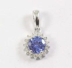 Tanzanite and Diamond Cluster Pendant