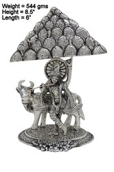 White Metal Krishna with Cow Having Mountain