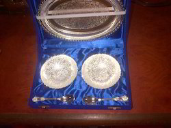Silver Plated Oval Type Tray With Bowls