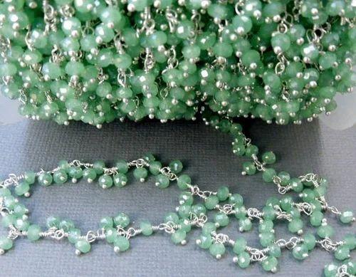 Peru Chalcedony 3mm Beaded Chain,Peru Chalcedony Wire Wrapped Chain,Peru Chalcedony Brass chain,Jewelry Making Chain,Beaded rosary chain,