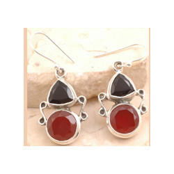 Red Onyx Cocktail Earrings Set in 925 Sterling Silver
